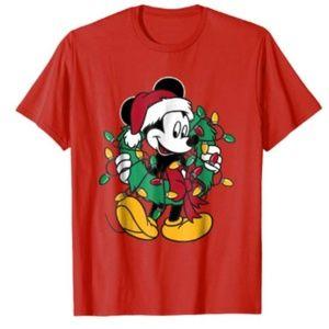 NEW Disney Mickey Mouse Christmas Lights T-Shirt